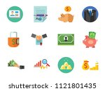 bank icon set. suit hand with...   Shutterstock .eps vector #1121801435