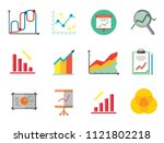 graph icon set. magnifier and... | Shutterstock .eps vector #1121802218