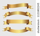set of golden ribbons vector.   Shutterstock .eps vector #1121802245