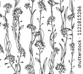 vector duotone floral seamless... | Shutterstock .eps vector #1121815286