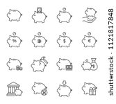 piggy bank set of vector icons... | Shutterstock .eps vector #1121817848