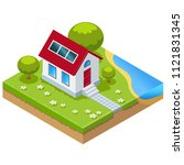 illustration of eco house with ... | Shutterstock . vector #1121831345