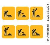 digging man. illustration of...   Shutterstock . vector #1121831375