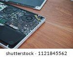 laptop disassembling in repair... | Shutterstock . vector #1121845562