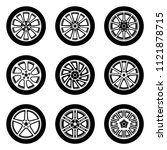 set of car wheels. rim and tyre | Shutterstock .eps vector #1121878715