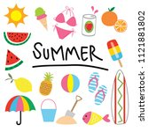 summer clip art collections | Shutterstock .eps vector #1121881802