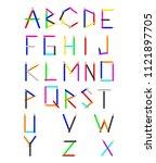 pencil texture cartoon alphabet ... | Shutterstock . vector #1121897705