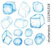 blue cristal ice cubes isolated....   Shutterstock . vector #1121901518