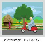 driving old man with suitcase... | Shutterstock .eps vector #1121901572