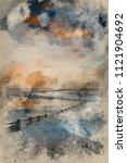 digital watercolour painting of ... | Shutterstock . vector #1121904692