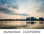 beautiful sunset with lake and...   Shutterstock . vector #1121918342