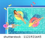 sexy girls relaxing on ring... | Shutterstock .eps vector #1121921645