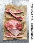 lamb chops isolated on white   Shutterstock . vector #1121934362