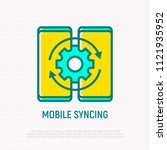 mobile syncing thin line icon.... | Shutterstock .eps vector #1121935952