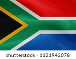 south africa fabric flag waving ... | Shutterstock . vector #1121942078