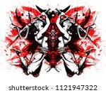 a duel between two samurai women | Shutterstock . vector #1121947322