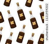 seamless drawing of a bottle of ... | Shutterstock .eps vector #1121959202