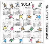 calendar for 2013  doodle  sheep   Shutterstock .eps vector #112197782