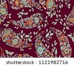 seamless paisley floral design | Shutterstock . vector #1121982716