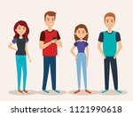 group of young people avatars | Shutterstock .eps vector #1121990618