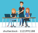 group of young people in the... | Shutterstock .eps vector #1121991188