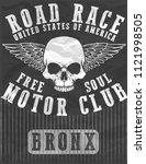vintage motorcycle t shirt... | Shutterstock .eps vector #1121998505