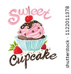 typography slogan with cupcake... | Shutterstock .eps vector #1122011378