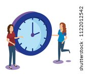 time clock with teamwork... | Shutterstock .eps vector #1122012542