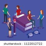 books school with teamwork... | Shutterstock .eps vector #1122012722