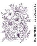 vintage vector floral... | Shutterstock .eps vector #1122013352