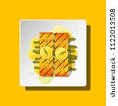 grilled salmon steak with... | Shutterstock .eps vector #1122013508