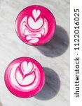 two colorful trendy pink... | Shutterstock . vector #1122016025