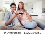 beautiful young couple with... | Shutterstock . vector #1122024362