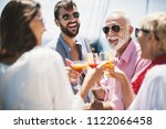 group of people having fun on a ...   Shutterstock . vector #1122066458