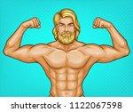 vector pop art naked male... | Shutterstock .eps vector #1122067598