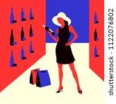 wine shopping. woman in a wine...   Shutterstock .eps vector #1122076802
