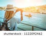 happy blonde woman   tourist... | Shutterstock . vector #1122092462
