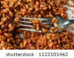 closeup of cooked farro with... | Shutterstock . vector #1122101462