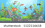 rectangular horizontal aquarium ... | Shutterstock .eps vector #1122116618