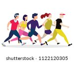 jogging people. runners group... | Shutterstock .eps vector #1122120305