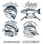 vintage sea trout fishing... | Shutterstock .eps vector #1122128642