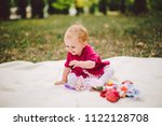 little baby girl caucasian... | Shutterstock . vector #1122128708