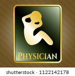 gold badge or emblem with... | Shutterstock .eps vector #1122142178
