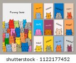 cards design  funny cats family | Shutterstock .eps vector #1122177452