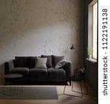 gray sofa in a dark room the... | Shutterstock . vector #1122191138