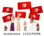 hands waving the flags of... | Shutterstock . vector #1122195098