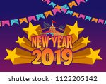 happy new yeartitle with... | Shutterstock .eps vector #1122205142