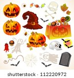 set of halloween design... | Shutterstock .eps vector #112220972