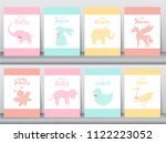 set of baby shower invitations... | Shutterstock .eps vector #1122223052