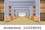 warehouse with rows of shelves...   Shutterstock .eps vector #1122230252